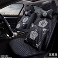 Crown Leather Car Seat Covers Diamonds Universal Auto Seat Cushion 11pcs Sets - Black