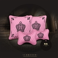 Crown leather Car 2pcs Hold Pillow 2pcs Neck Pillow Universal Interior Sets - Pink