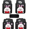 Cute Cony Rabbit Genenal Automotive Carpet Car Floor Mats Rubber 5pcs Sets - Black White