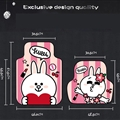 Cute Cony Rabbit Genenal Automotive Carpet Car Floor Mats Rubber 5pcs Sets - Pink White