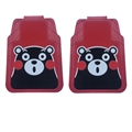 Cute Kumamon Genenal Automotive Carpet Car Floor Mats Rubber 2pcs Sets - Red