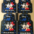 Cute Mickey Minnie Mouse Genenal Automotive Carpet Car Floor Mats Rubber 5pcs Sets - Black Blue