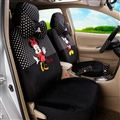 Cute Mickey Minnie Mouse Plush Fabric Auto Cushion Universal Car Seat Covers 14pcs - Black White