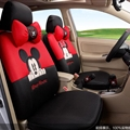 Cute Mickey Minnie Mouse Polyester Sandwich fabric Auto Cushion Universal Car Seat Covers 14pcs - Black Red