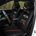 Elegant Icesilk Leather Fashion Gucci Bee Car Seat Covers Universal Pads Seat Cushions 9pcs - Black