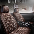 Elegant Leather LV Print Car Seat Covers Universal Pads Automobile Seat Cushions 6pcs - Coffee