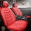 Elegant Leather LV Print Car Seat Covers Universal Pads Automobile Seat Cushions 6pcs - Red