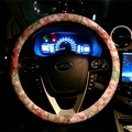 Floral GD PU Leather Auto Car Steering Wheel Covers 15 inch 38CM - Beige