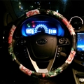 Floral GD PU Leather Auto Car Steering Wheel Covers 15 inch 38CM - Black