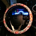 Floral GD PU Leather Auto Car Steering Wheel Covers 15 inch 38CM - Grey