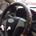 Floral LV PU Leather Auto Car Steering Wheel Covers 15 inch 38CM - Coffee