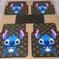 Flower Stitch General Automotive Carpet Car Floor Mats Latex 5pcs Sets - Blue Black
