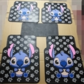 Flower Stitch General Automotive Carpet Car Floor Mats Latex 5pcs Sets - White Black