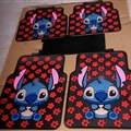 Flower Stitch Universal Automotive Carpet Car Floor Mats Latex 5pcs Sets - Black Red