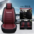 Gorgeous Leather Supreme Print Car Seat Covers Universal Pads Automobile Seat Cushions 6pcs - Black Red