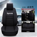 Gorgeous Leather Supreme Print Car Seat Covers Universal Pads Automobile Seat Cushions 6pcs - Black White