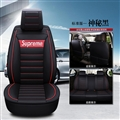 Gorgeous Leather Supreme Print Car Seat Covers Universal Pads Automobile Seat Cushions 6pcs - Black