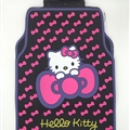 Hello Kitty General Car Carpet Car Floor Mats Rubber 5pcs Sets - Pink Black
