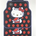 Hello Kitty Universal Auto Carpet Car Floor Mats Rubber 5pcs Sets - Red Black