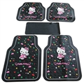 Hello Kitty Universal Automotive Carpet Car Floor Mats Latex 5pcs Sets - Colorful Black
