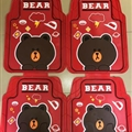 Lovely Brown Bear Genenal Automotive Carpet Car Floor Mats Rubber 5pcs Sets - Red Brown