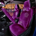 Luxury Crystals Plush Crown Car Seat Covers Gorgeous Universal Auto Seat Cushion 11pcs Sets - Purple