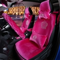 Luxury Crystals Plush Crown Car Seat Covers Gorgeous Universal Auto Seat Cushion 11pcs Sets - Rose