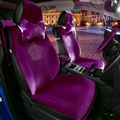 Luxury Crystals Plush Crown Car Seat Covers Gorgeous Universal Auto Seat Cushion 9pcs Sets - Purple