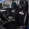 Luxury Crystals Plush Gucci Car Seat Covers Gorgeous Universal Auto Seat Cushion 9pcs Sets - Black
