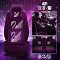 Luxury Crystals Plush Swan Car Seat Covers Universal Mats Auto Seat Cushion 10pcs Sets - Purple