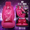Luxury Crystals Plush Swan Car Seat Covers Universal Mats Auto Seat Cushion 10pcs Sets - Rose