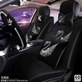 Luxury Crystals Plush Swan Car Seat Covers Universal Mats Auto Seat Cushion 11pcs Sets - Black