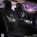 Luxury Crystals Plush Swan Car Seat Covers Universal Mats Auto Seat Cushion 6pcs Sets - Black