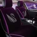Luxury Crystals Plush Swan Car Seat Covers Universal Mats Auto Seat Cushion 6pcs Sets - Purple
