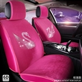 Luxury Crystals Plush Swan Car Seat Covers Universal Mats Auto Seat Cushion 6pcs Sets - Rose