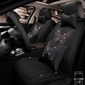 Luxury Crystals Polyester Butterfly Car Seat Covers Universal Mats Auto Seat Cushion 11pcs Sets - Black