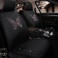 Luxury Crystals Polyester Butterfly Car Seat Covers Universal Mats Auto Seat Cushion 6pcs Sets - Black