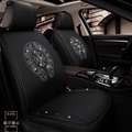 Luxury Crystals Polyester Chrome Hearts Car Seat Covers Universal Mats Auto Seat Cushion 6pcs Sets - Black
