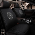 Luxury Crystals Polyester Versace Car Seat Covers Universal Mats Auto Seat Cushion 6pcs Sets - Black