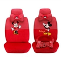 Pot Mickey Minnie Mouse Plush Fabric Auto Cushion Universal Car Seat Covers 14pcs - Red