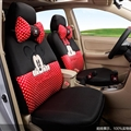 Pot Mickey Minnie Mouse Polyester Sandwich fabric Auto Cushion Universal Car Seat Covers 14pcs - Black Red