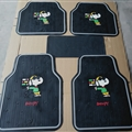 Snoopy Universal Automotive Carpet Car Floor Mats Latex 5pcs Sets - Grey Black