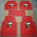 Snoopy Universal Automotive Carpet Car Floor Mats Latex 5pcs Sets - Red Grey