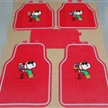 Snoopy Universal Automotive Carpet Car Floor Mats Latex 5pcs Sets - Red