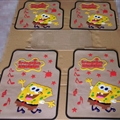 SpongeBob Universal Automotive Carpet Car Floor Mats Latex 5pcs Sets - Yellow Beige