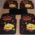 SpongeBob Universal Automotive Carpet Car Floor Mats Latex 5pcs Sets - Yellow Black