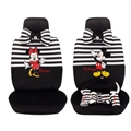 Stripe Mickey Minnie Mouse Plush Fabric Auto Cushion Universal Car Seat Covers 14pcs - Black White
