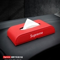 Supreme Beautiful Genuine Leather Car Tissue Paper Boxs Holder for Car Home - Red