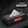 Supreme Beautiful Genuine Leather Car Tissue Paper Boxs With Diamonds Car Parking Card - Black