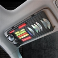 Supreme CD Multifunction Real Leather Car Sun Visor Clip Card Pen Bag Car Accessories - Black